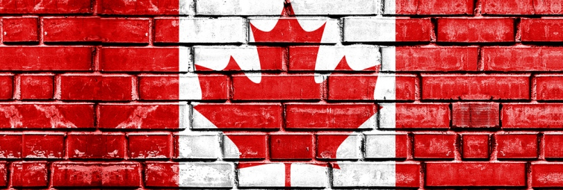 canada flag on brick
